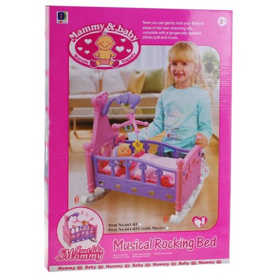 Játékbölcső babáknak Inlea4Fun MUSICAL ROCKING BED - rózsaszín