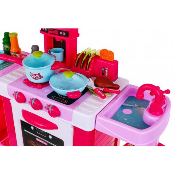 Inlea4Fun KIDS COOK Játékkonyha hang- és fényeffektekkel kiegészítőkkel - rózsaszín