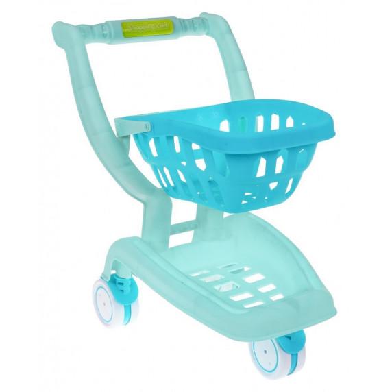 Bevásárlókocsi kiegészítőkkel Inlea4Fun SHOPPING CART SERIES - kék