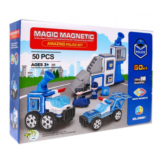 Mágneses építőjáték Rendőr állomás 50 db Inlea4Fun MAGIC MAGNETIC