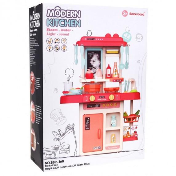 Játékkonyha 42 kiegészítővel Inlea4Fun MODERN KITCHEN - rózsaszín