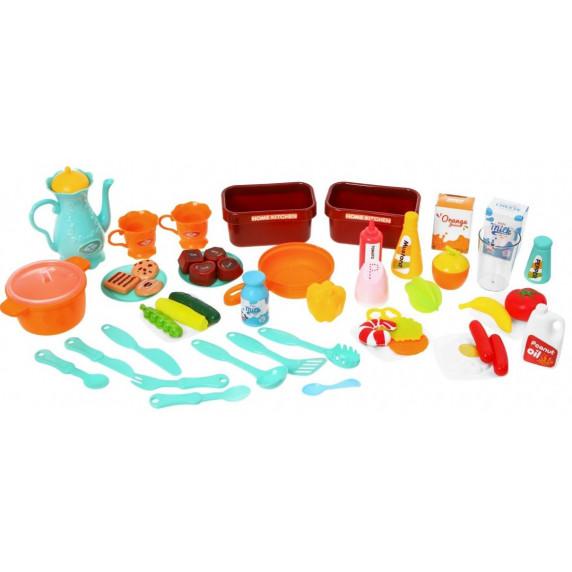 Inlea4Fun ELISA Játékkonyha fény és hangeffektekkel 46 kiegészítővel - narancssárga