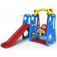 Inlea4fun LION 3az1-ben kerti játszótér csúszdával és hintával - kék