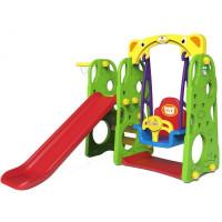 Inlea4fun LION 3az1-ben kerti játszótér csúszdával és hintával - zöld