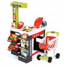 Smoby Szupermarket elektronikus pénztárgéppel és bevásárlókocsival - piros Előnézet